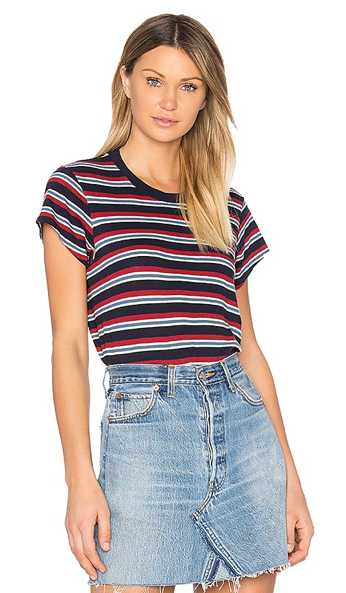 RE/DONE Boxy Striped Tee in Red