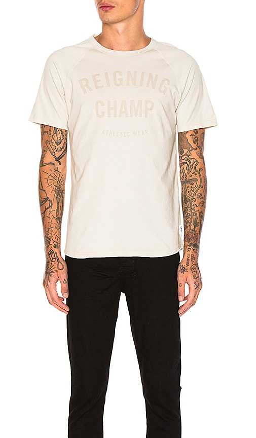 Reigning Champ Gym Logo Raglan Tee in Light Gray