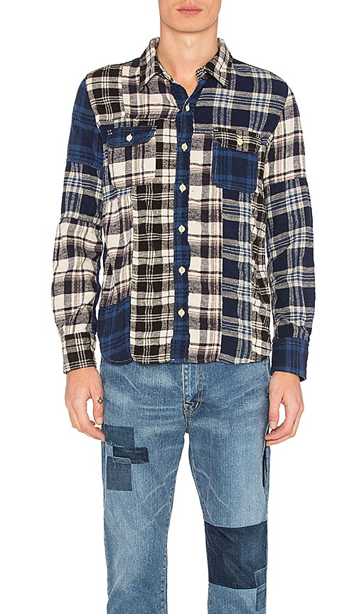 Remi Relief Patchwork Flannel Shirt in Blue