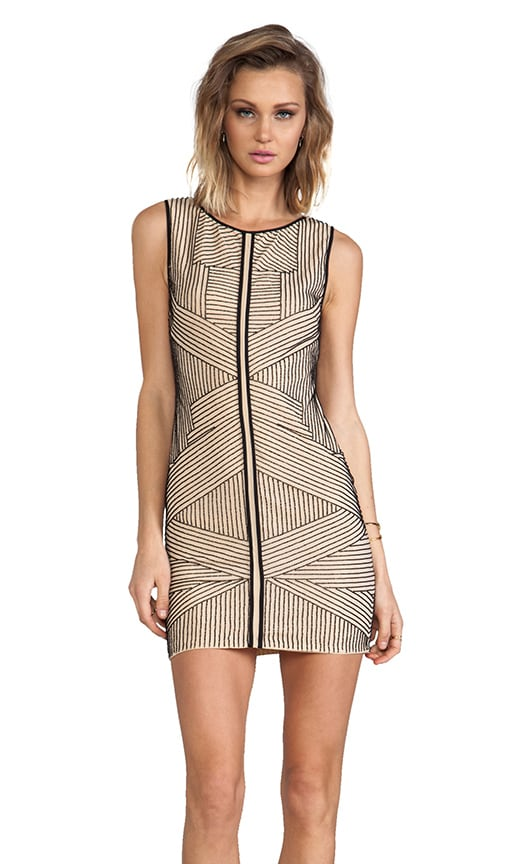 Stripe Beading Silk Dress