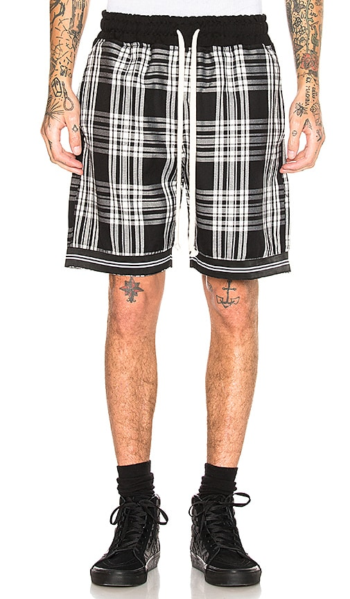 REPRESENT Tartan Shorts in Black & White