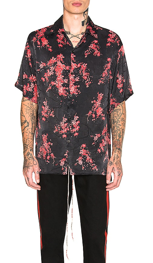 REPRESENT Black Floral Shirt in Black