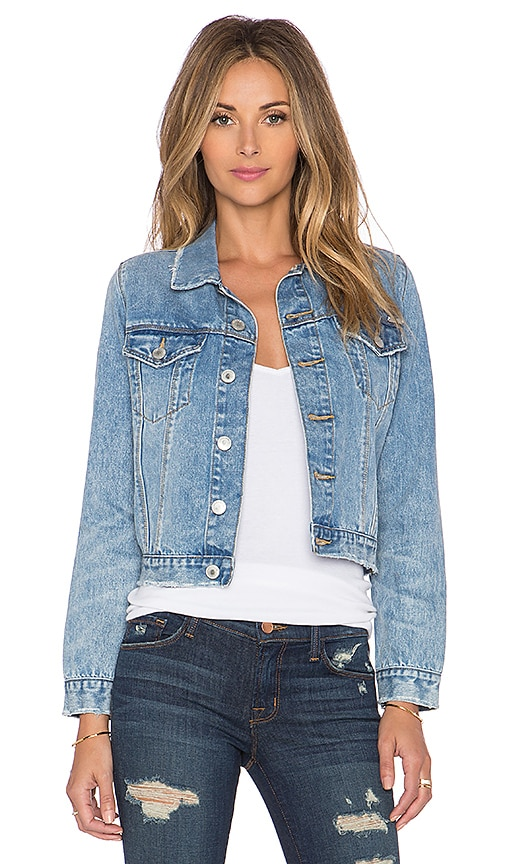 RES Denim Sister Awake Cropped Trucker Jacket in Point Break
