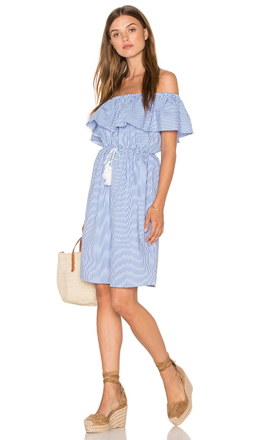 REVERSE Off Shoulder Day Dress in Blue Stripe