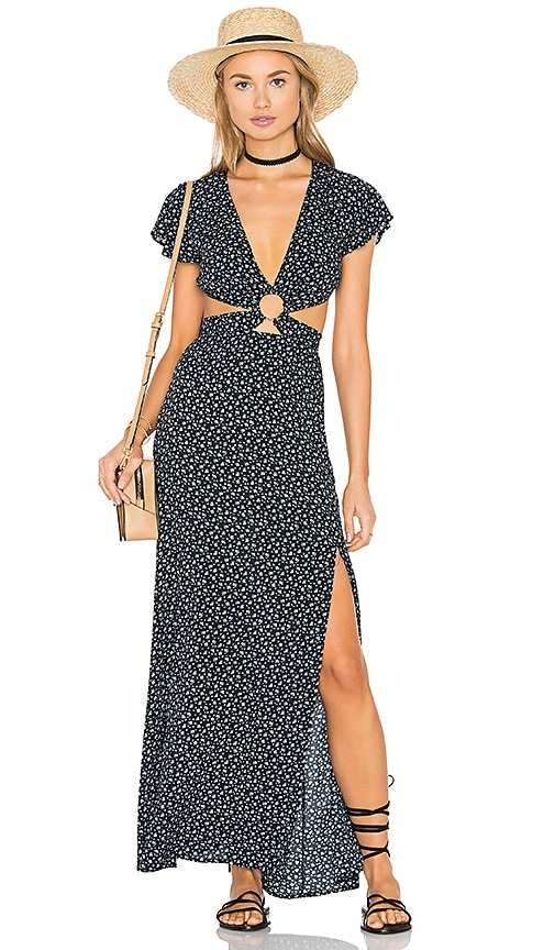 REVERSE Gypsy Maxi Dress in Navy Print