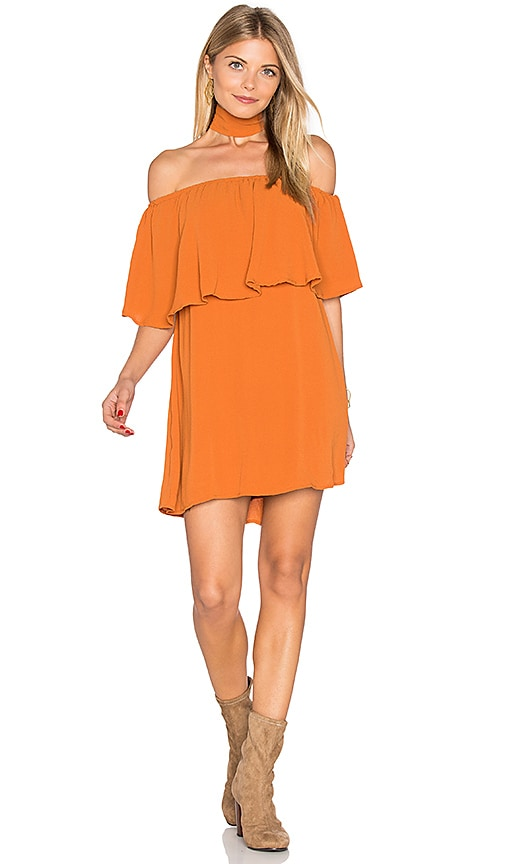 REVERSE Chloe Ruffle Choker Dress in Orange