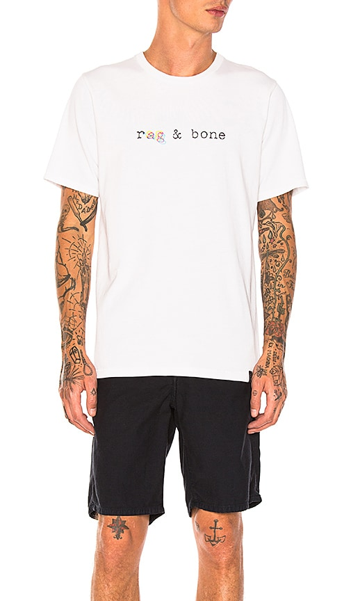 Rag & Bone Glitch Logo Tee in White