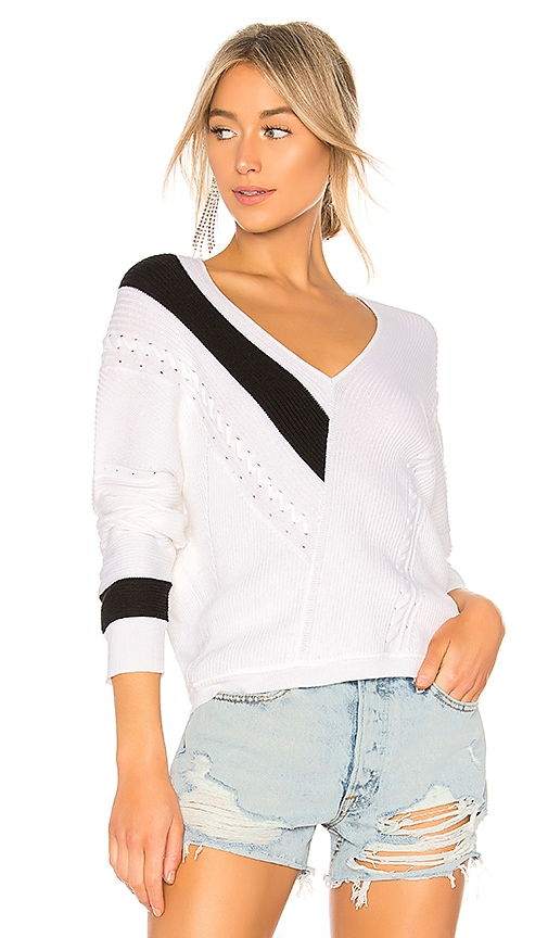 Rag & Bone Cricket V Neck Sweater in Black & White