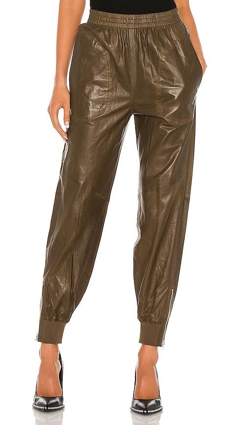 Rag & Bone Leather Jogger Pant In Olive