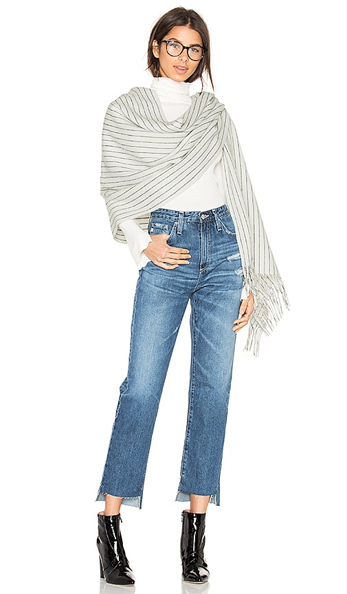 Rag & Bone Brushed Pinstripe Scarf in White
