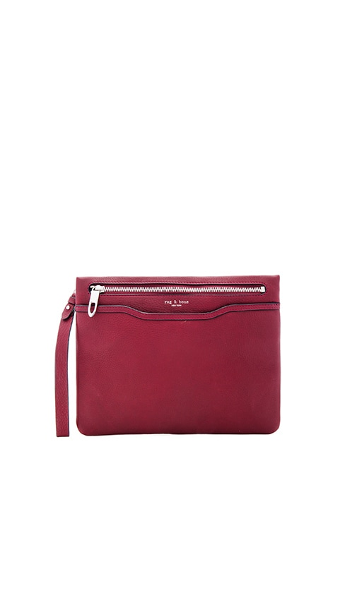 Rag & Bone Zip Clutch in Burgundy