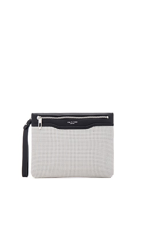 Rag & Bone Zip Clutch in White Perforated