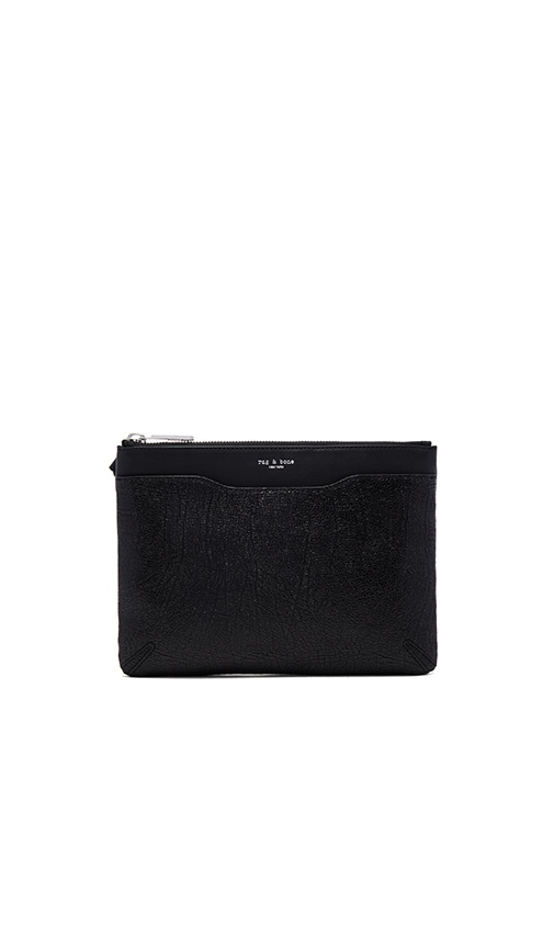 rag & bone Zip Clutch in Black Crackle