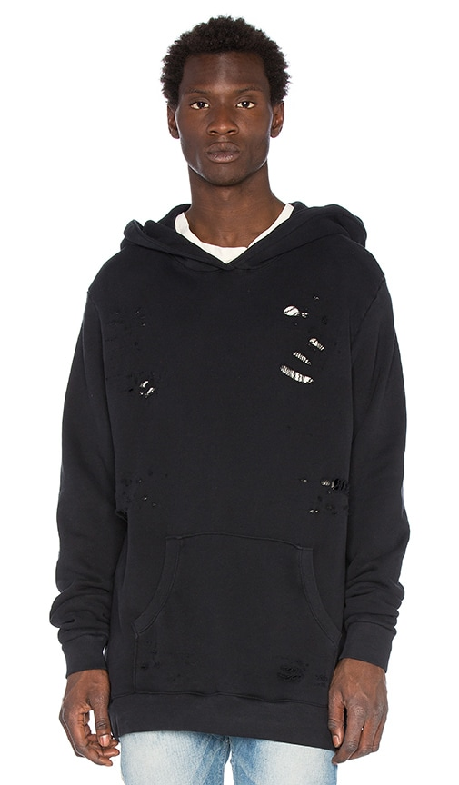 Rhude Distressed Hoodie in Black