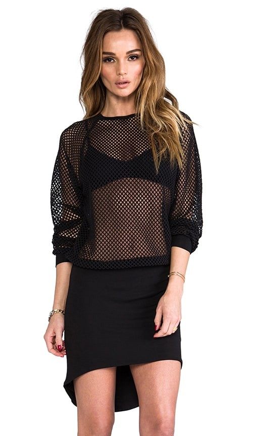 Todd Fishnet Sweatshirt Mini Dress