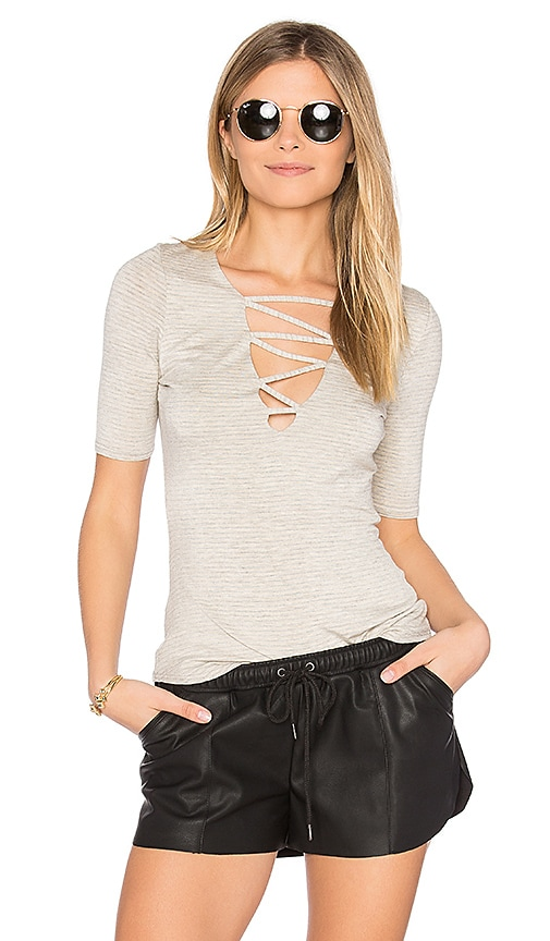 Riller & Fount Bobbie Criss Cross Top in Beige