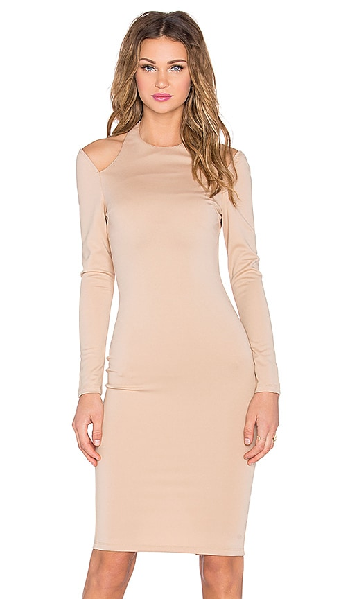 RISE Royals Only Cut Out Midi Dress in Beige