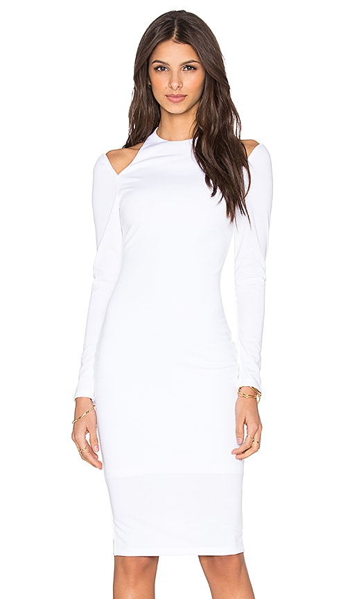 RISE Royals Only Cut Out Midi Dress in White