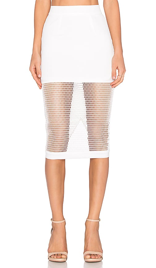RISE Burning Desire Mesh Midi Skirt in White