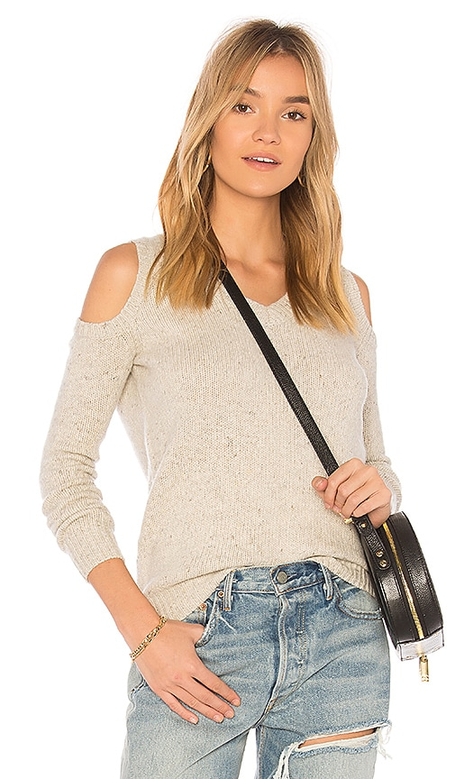 Rebecca Minkoff Page V Neck Sweater in Beige