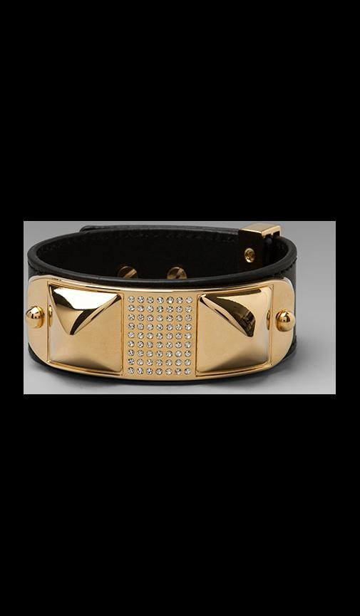 Small Studded Pave Leather Bracelet