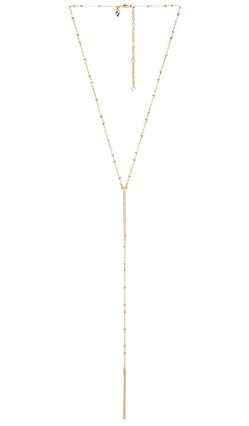 Rebecca Minkoff Beaded Pave Bar Necklace in Metallic Gold