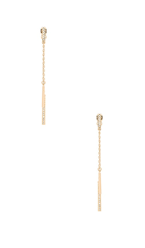 Rebecca Minkoff Pave Bar Earring in Metallic Gold