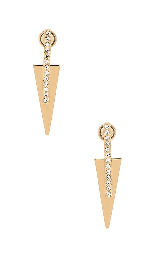 Rebecca Minkoff Pave Bar & Triangle Earring in Gold & Crystal