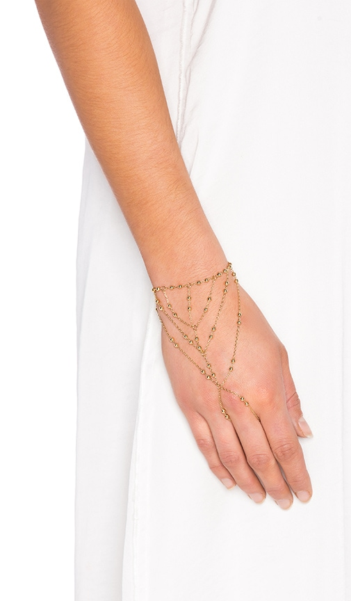 Rebecca Minkoff Multi Bead Hand Chain in Metallic Gold