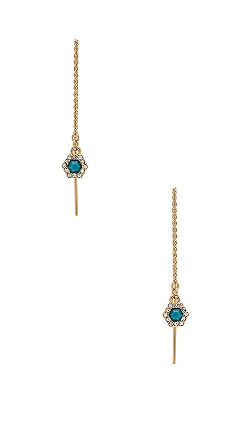 Rebecca Minkoff Pave Gem Threader Earring in Gold & Turquoise