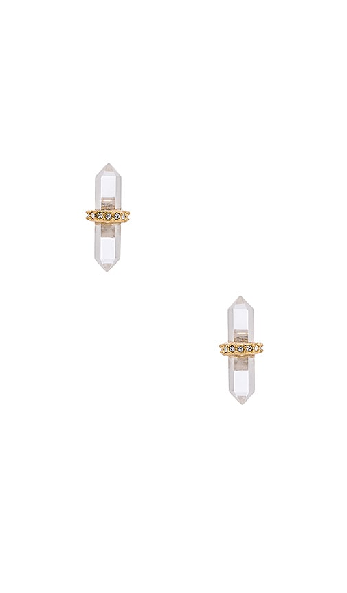 Rebecca Minkoff Crystal Pave Stud Earring in Metallic Gold