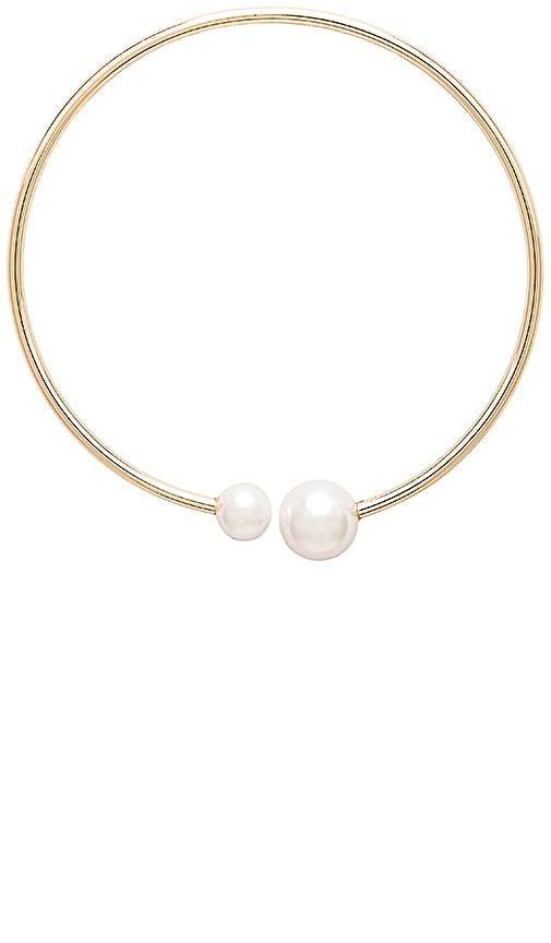 Rebecca Minkoff Pearl Collar Necklace in Metallic Gold