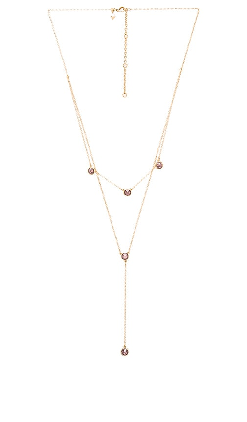 Rebecca Minkoff Gem Stone Two Row Lariat Necklace in Metallic Gold