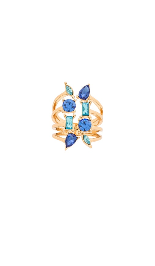 Rebecca Minkoff Multi Stone Wrap Ring in Gold & Blue Multi