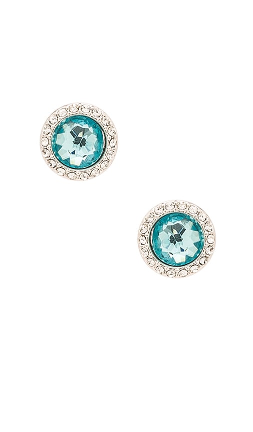 Rebecca Minkoff Crystal Halo Stud Earring in Metallic Silver