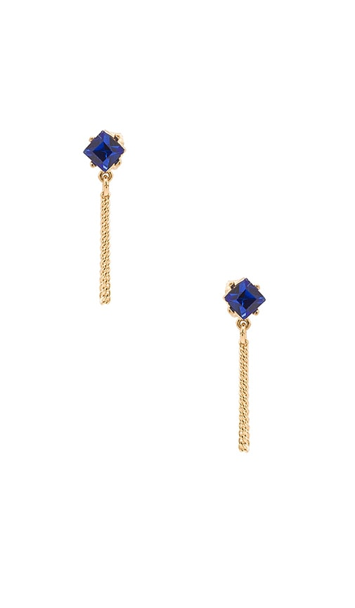Rebecca Minkoff Stone Chain Loop Stud Earring in Gold & Blue