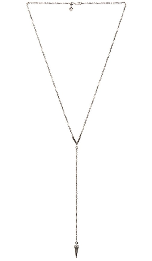 Rebecca Minkoff Crystal Cone Y Necklace in Gunmetal & Black