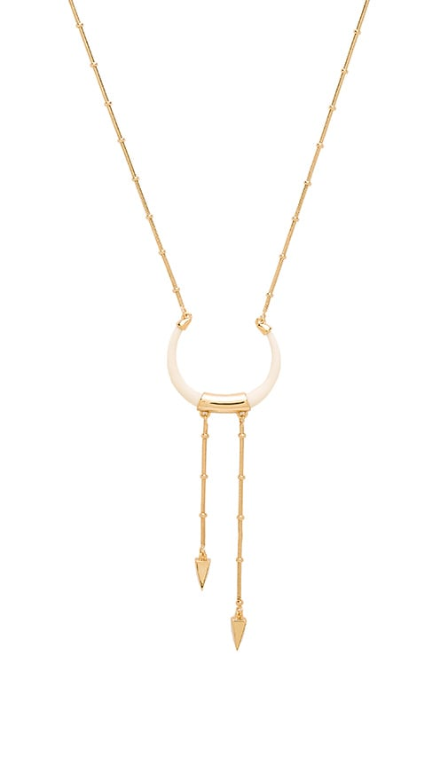 Rebecca Minkoff Long Double Tusk Necklace in Gold & Ivory