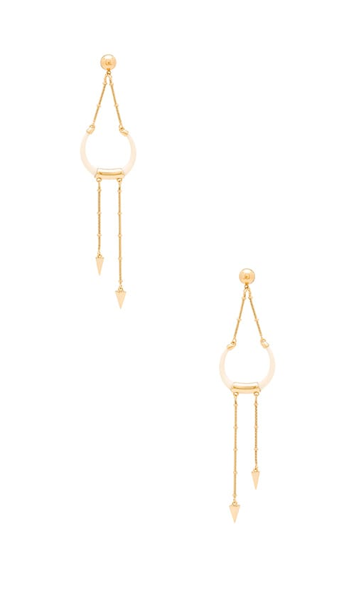 Rebecca Minkoff Double Tusk Statement Earring in Gold & Ivory