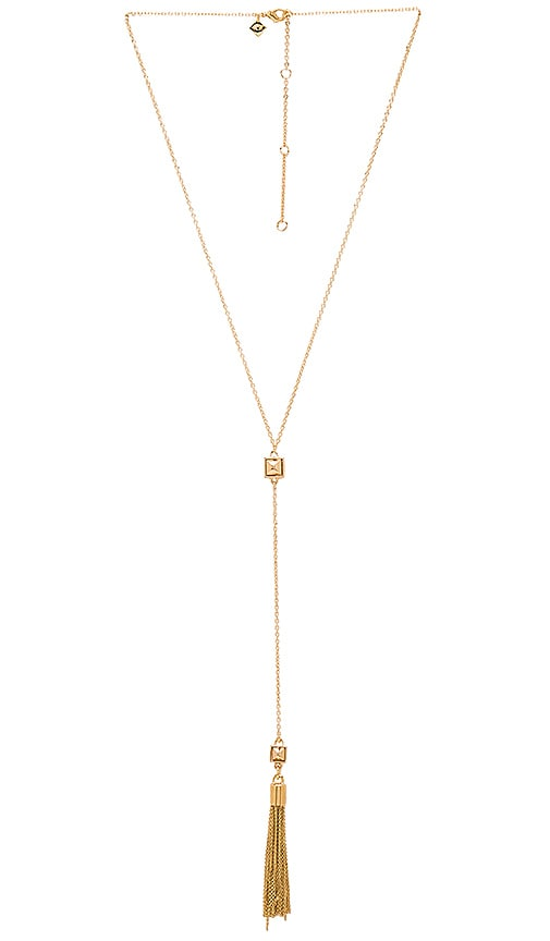 Rebecca Minkoff Stud Fringe Y Necklace in Metallic Gold