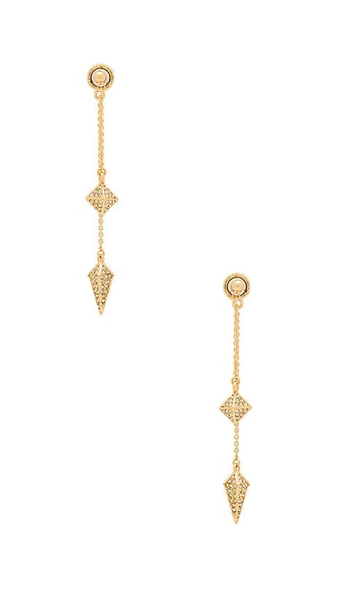 Rebecca Minkoff Dangling Stud Spike Front Back Earring in Metallic Gold