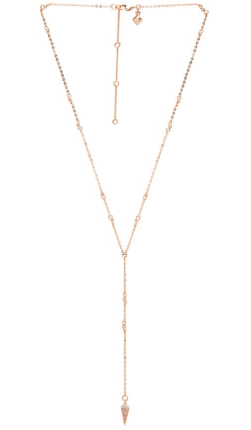 Rebecca Minkoff Pave Spike Beaded Y Necklace in Metallic Copper