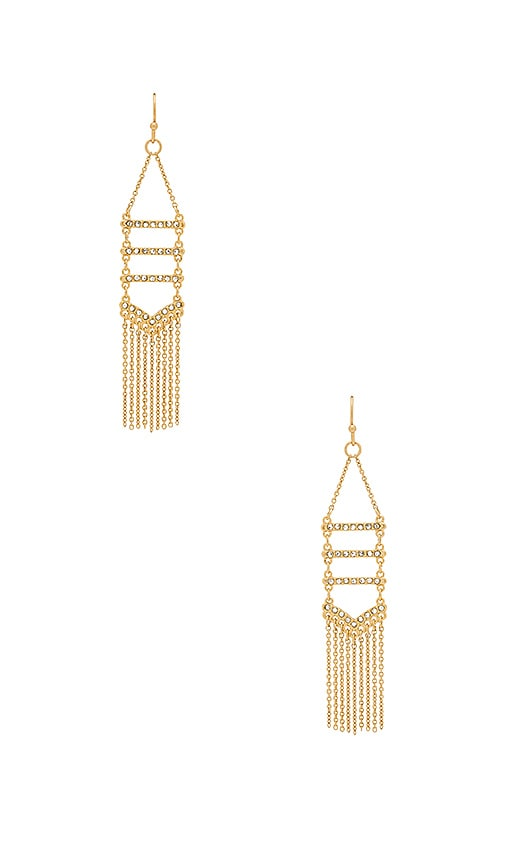 Rebecca Minkoff Pave & Fringe Chandelier Earrings in Metallic Gold