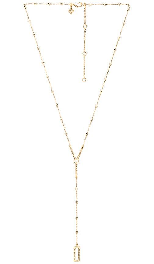 Rebecca Minkoff Geo Rectangle Y Necklace in Metallic Gold