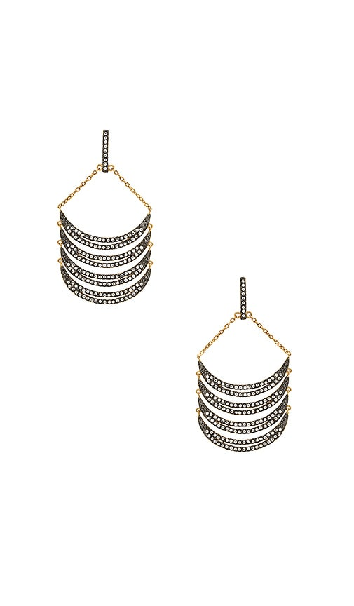 Rebecca Minkoff Curve Chandelier Earrings in Metallic Gold