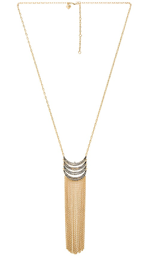 Rebecca Minkoff Fringe Pendant Necklace in Metallic Gold