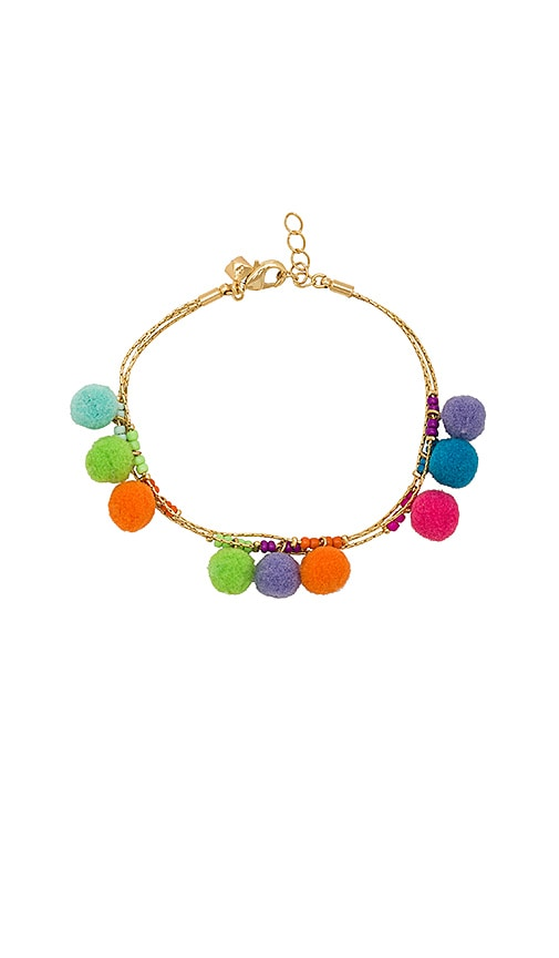Rebecca Minkoff Savanna Pom Pom Bracelet in Metallic Gold