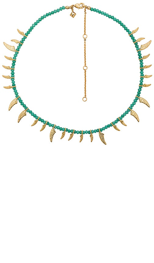 Rebecca Minkoff Tiki Beaded Spike Necklace in Metallic Gold