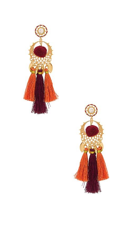 Rebecca Minkoff Tassel & Pom Drama Chandelier Earrings in Metallic Gold