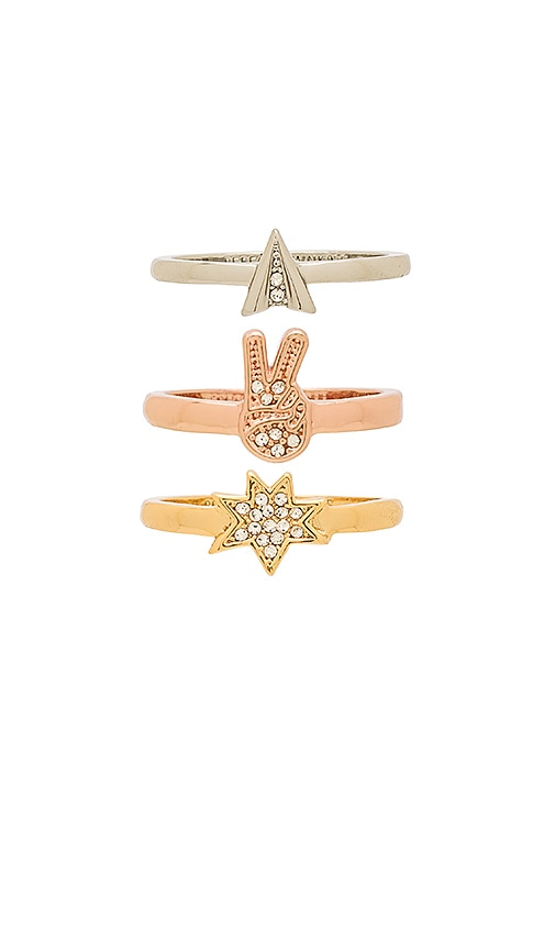 Rebecca Minkoff Charm Ring Set in Metallic Gold